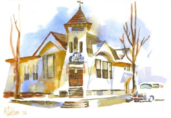 Wall Art - Painting - First Baptist Church In Winter by Kip DeVore