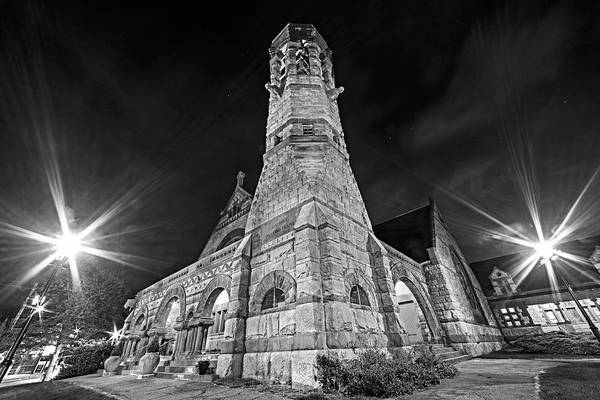 Photograph - First Baptist Church Newton Center Newton Ma Black And White by Toby McGuire
