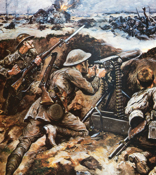 Marching Painting - First Battle Of The Somme by Stanley L Wood