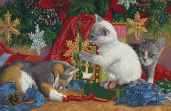Kitten Wall Art - Painting - First Christmas by Lucie Bilodeau