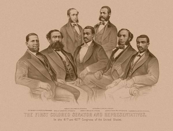 African American Drawing - First Colored Senator And Representatives by War Is Hell Store