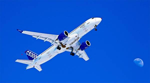 Wall Art - Photograph - First Airbus A220-300 / Bombardier Cseries Cs300 First Flight - No Text  by Sylvain Faust