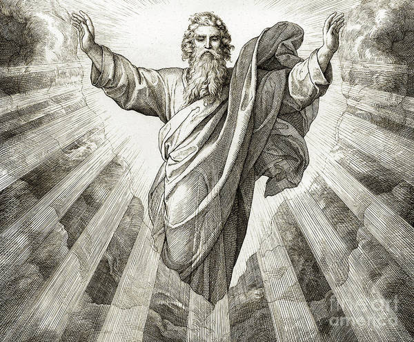 Father Sky Wall Art - Drawing - First Day Of Creation, Genesis by Julius Schnorr von Carolsfeld