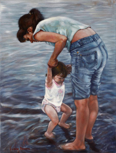 Toddler Painting - First Dip by Harvie Brown