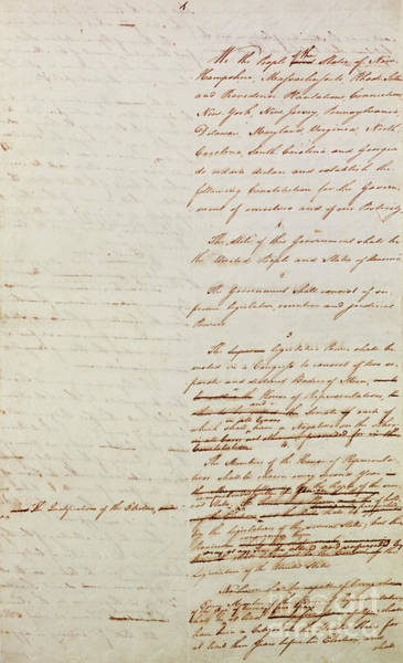 Usa Drawing - First Draft Of The Constitution Of The United States, 1787 by American School