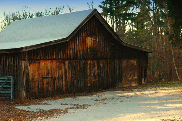 Barn Snow Digital Art - First Dusting Of Snow by Ross Powell
