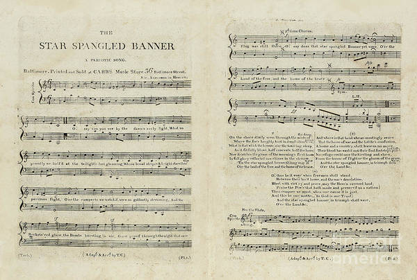 Patriot Drawing - First Edition Of The Sheet Music For The American National Anthem by Francis Scott Key