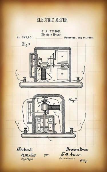 Wall Art - Digital Art - First Electric Meter 2 Patent 1881 by Daniel Hagerman