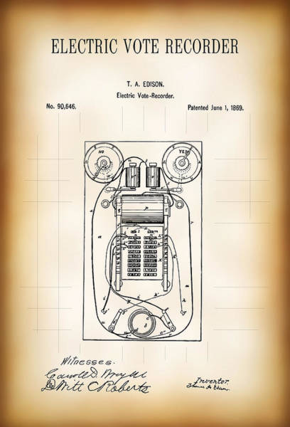 Count Digital Art - First Electric Voting Machine Patent 1869 by Daniel Hagerman