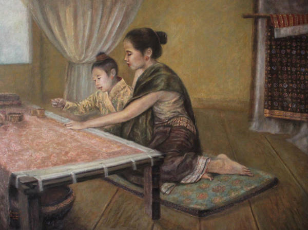 Embroidery Painting - First Embroidery Lesson by Sompaseuth Chounlamany