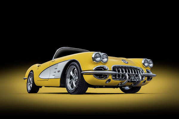 Wall Art - Digital Art - 1960 Yellow And White Corvette Convertible by Douglas Pittman