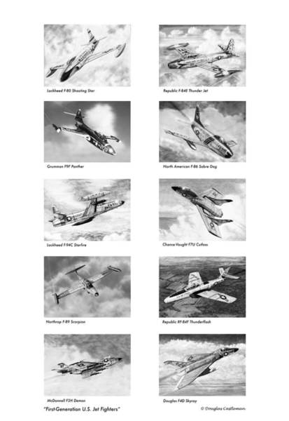 Drawing - First Generation Us Jet Fighters by Douglas Castleman