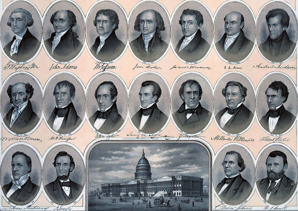 American History Drawing - First Hundred Years Of American Presidents by American School