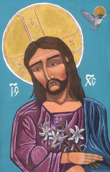 Painting - First Icon, Christ Consider The Lilies by Kelly Latimore