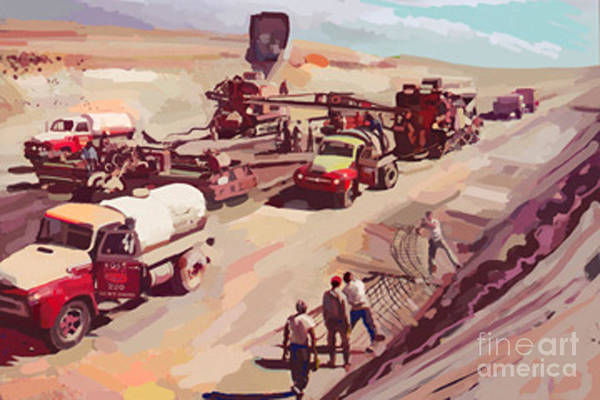 Construction Painting - First Interstate by Brad Burns