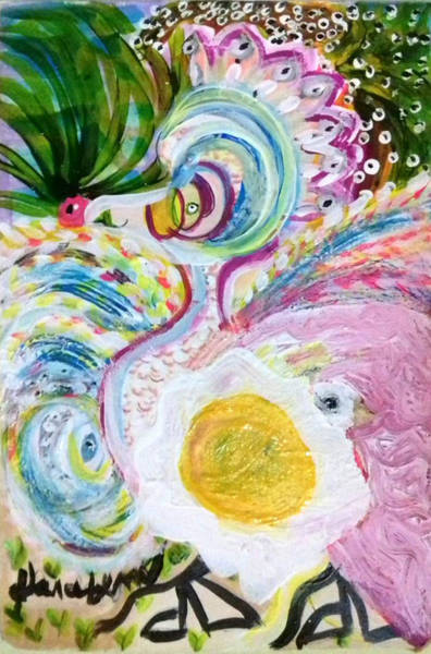 Painting - First It Was The Chicken by Darabem Artist