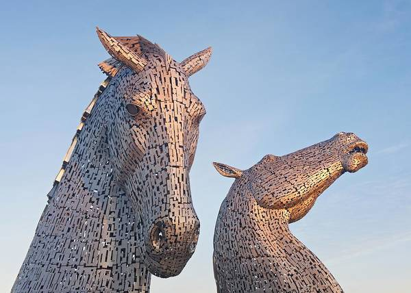 Photograph - First Light At The Kelpies by Stephen Taylor