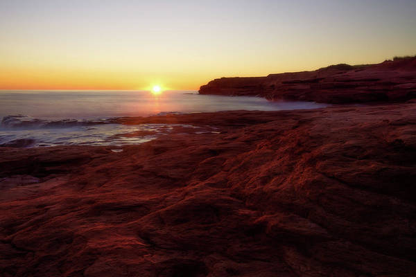 Photograph - First Light On Red Sandstone Beach by Chris Bordeleau