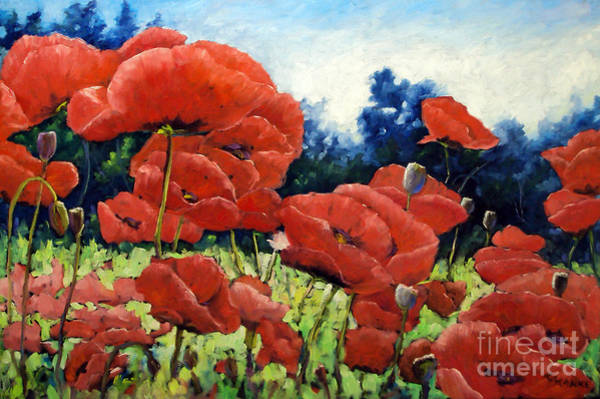 Floral Shower Curtain Painting - First Of Poppies by Richard T Pranke