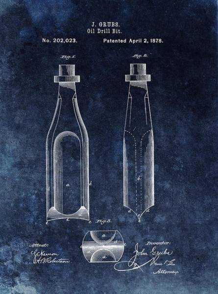 Petroleum Drawing - First Oil Drill Bit Patent by Dan Sproul