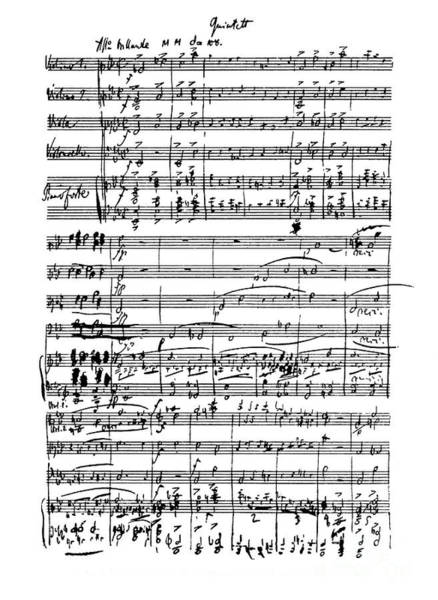 Wall Art - Drawing - First Page Of Score Of Piano Quintet Opus 44 By Robert Schumann by Robert Schumann
