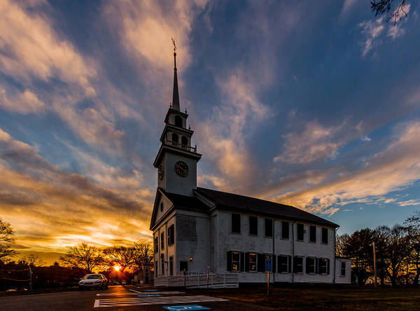 Photograph - First Parish Church In Milton Massachusetts Sunset by Brian MacLean