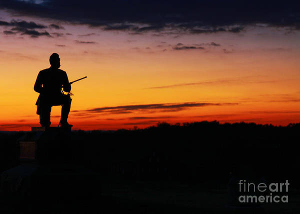 Cemetery Ridge Photograph - First Pennsylvania Cavalry Sunrise Gettysburg by Randy Steele