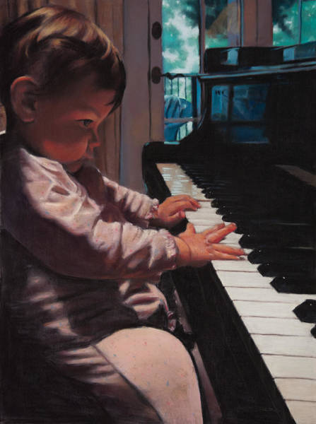 Pastel - First Piano Lesson by Christopher Reid