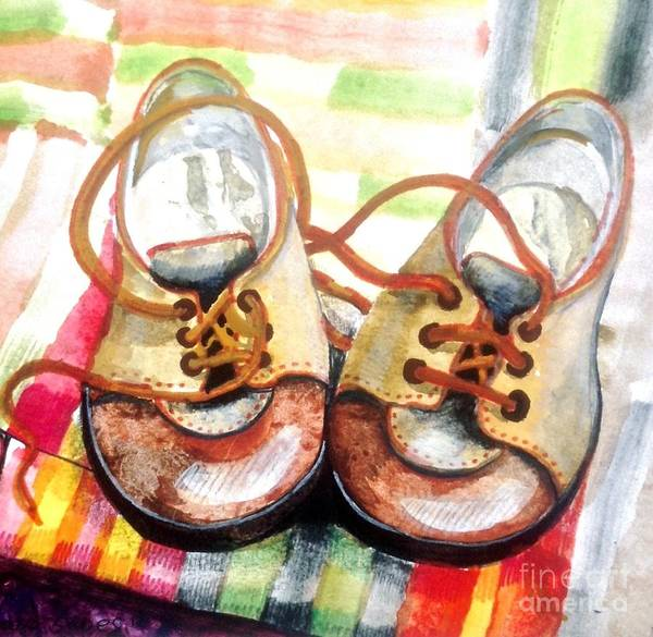 Growing Up Digital Art - First Shoes by Janet Fraser Mckinlay