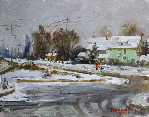 Wall Art - Painting - First Snow For This Winter by Ylli Haruni