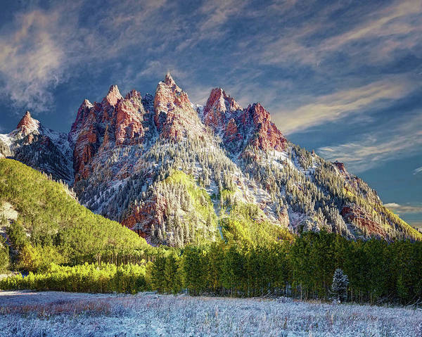 Digital Art - First Snow Maroon Bells by OLena Art - Lena Owens