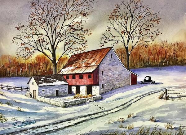 Barn Snow Painting - First Snow by Raymond Edmonds