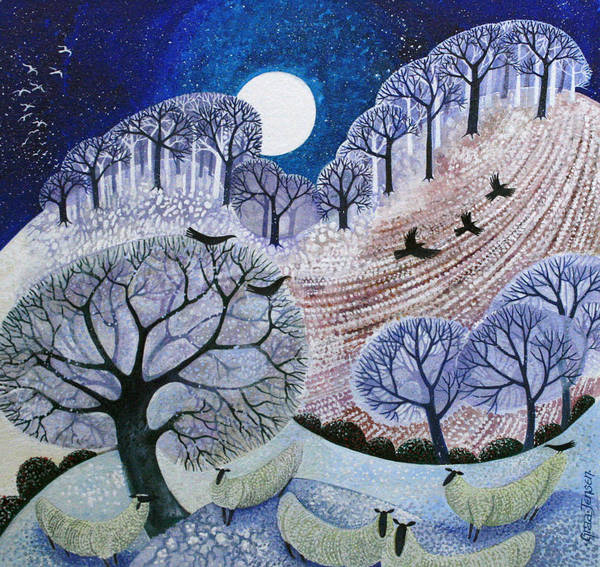 Full Moon Painting - First Snow Surrey Hills by Lisa Graa Jensen