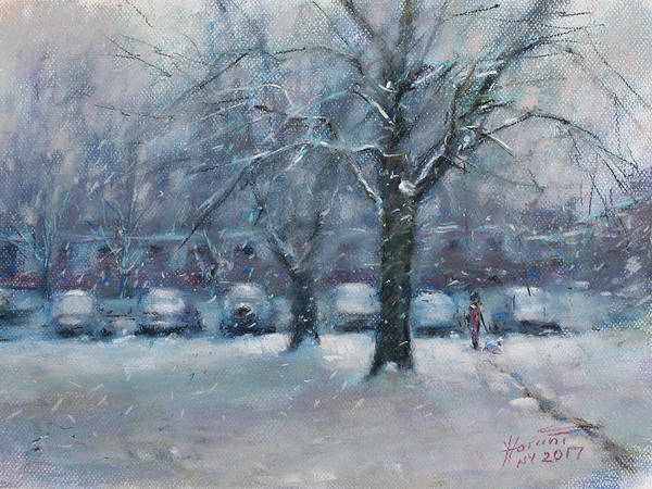 Winter Landscapes Painting - First Snowfall 2017  by Ylli Haruni