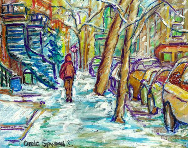 Painting - First Snowfall Verdun Winter Walk Montreal Street Scene Canadian Artist Carole Spandau by Carole Spandau