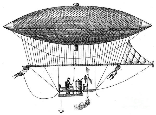 Wall Art - Drawing - First Steam Powered Airship Designed By Henri Giffard, 1922 by French School