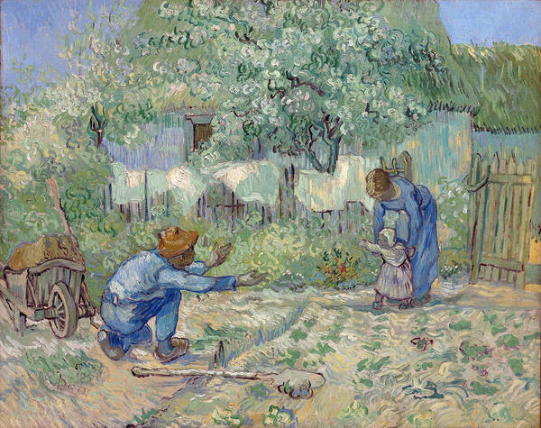 Happy Little Trees Painting - First Steps After Millet, 1890 by Vincent Van Gogh
