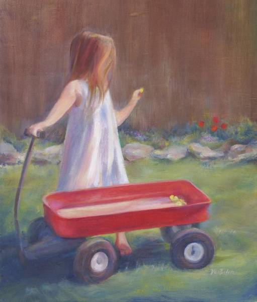Red Wagon Painting - First Tulips by Laurie VanBalen