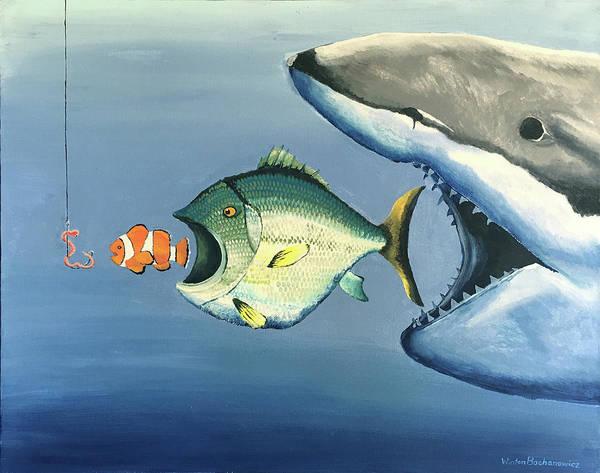 Food Chain Painting - Fish Bait by Winton Bochanowicz