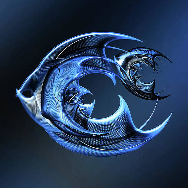 Showpiece Digital Art - Fish - Blue by Andy Young