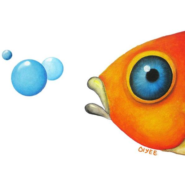 Painting - Fish Bubbles by Oiyee At Oystudio
