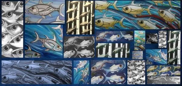Painting - Fish Collage by Joan Stratton