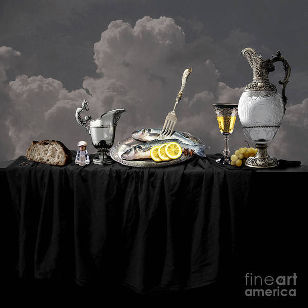 Fish Diner In Silver Art Print