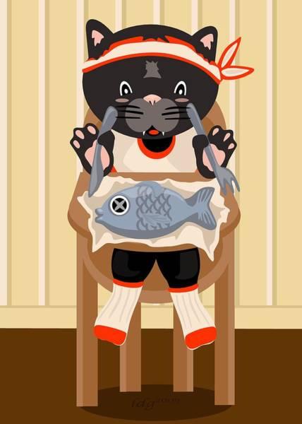 Fork Digital Art - Fish For Dinner by LD Gonzalez