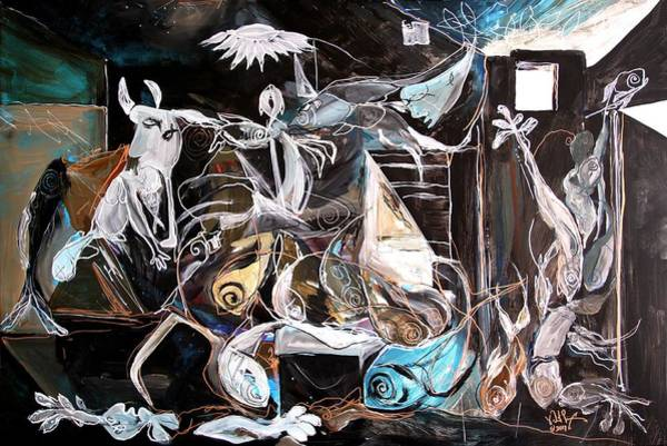 Painting - Fish Guernica - Redefining Misery - Homage To Picasso 2017 by J Vincent Scarpace