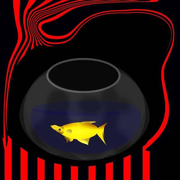 Digital Art - Fish In A Bowl by Bukunolami Olamilokun