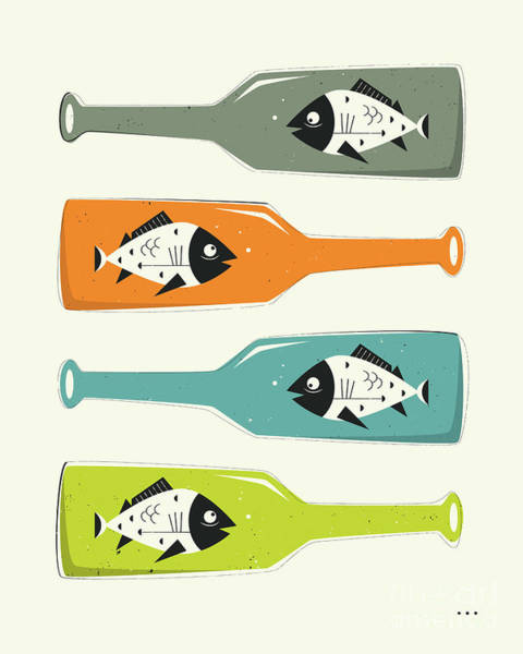 Fish Digital Art - Fish In Bottles by Jazzberry Blue