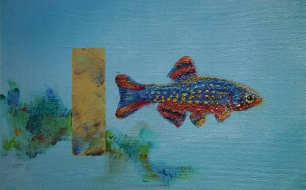 Painting - Fish In Space Detail by Eduard Meinema