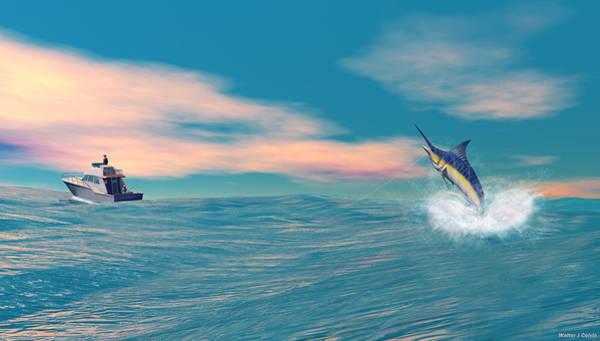 Sportsman Digital Art - Fish On by Walter Colvin