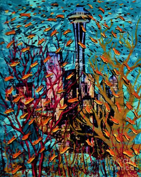 Painting - Fish Over Seattle  by Allison Constantino